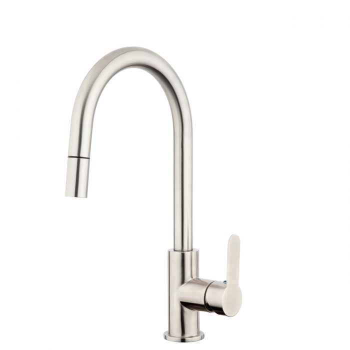 FORENO PURITY Gooseneck Pulldown Sink Mixer | Stainless Steel (PUR013)